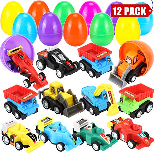 "Review Of Sizonjoy 12 Pack Filled Easter Eggs with Toy Cars,3.3"" Filled Surprise Eggs for Easter T..."