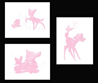 Simply Remarkable Inspired by Bambi - Set of 3 Beautiful Watercolor Poster Prints are Photo Quality and Made in USA - Disney Bambi and Thumper Nursery Decor - Frame not included (8x10, Pink)