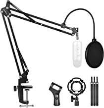 Professional Adjustable Desktop Microphone Stand Suspension Boom Scissor Arm Stand Desktop Mic Stand with Mic Pop Filter for Blue Yeti Snowball,Radio Broadcasting and Recording