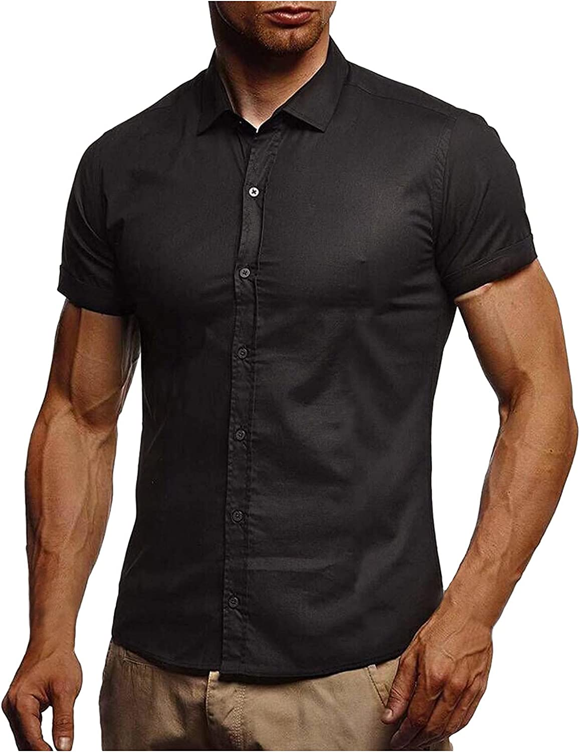 WoCoo Mens Casual Shirts Solid Short Sleeve Button Down Shirt Business Turn-Down Collar Blouse Regular Fit Tops