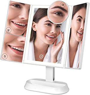 Ovonni Espejo Maquillaje con Luz, Espejo Triple Plegable,