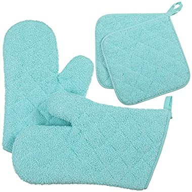 VEEYOO Cotton Oven Mitts Pot Holder Set Quilted Trivet Mats Kitchen Heat Resistant for Cooking Baking, Aqua Blue