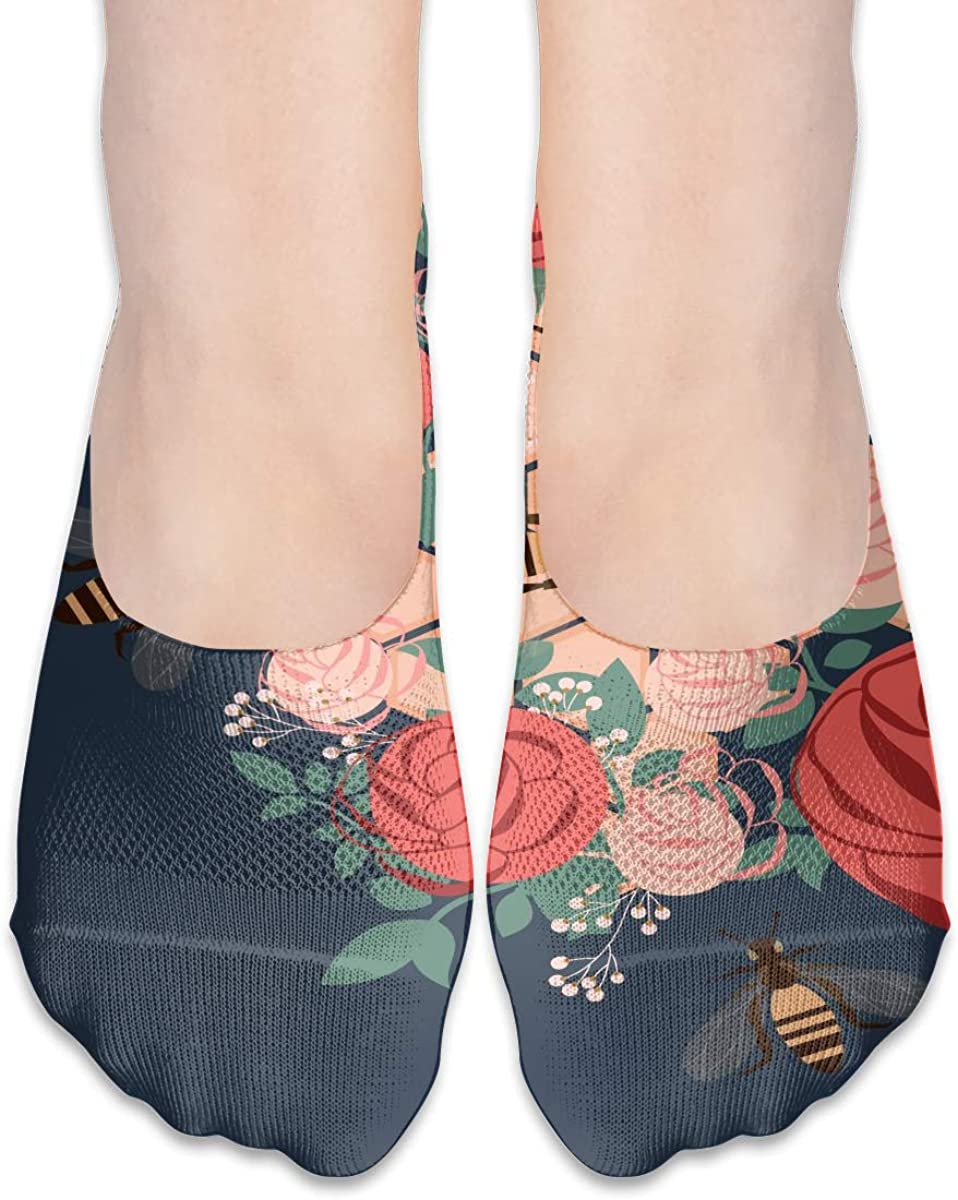 No Show Socks Women Men For Rose Bumblebee Honey Pink Flats Cotton Ultra Low Cut Liner Socks Non Slip