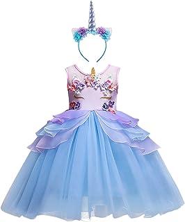 IBTOM CASTLE Girls Sleeveless Lace Chiffon Wedding Maxi Long Dresses Bridesmaid Birthday Party School Prom Flower Dress Evening Costume 2PCS Blue Outfits Blue 5-6 Years