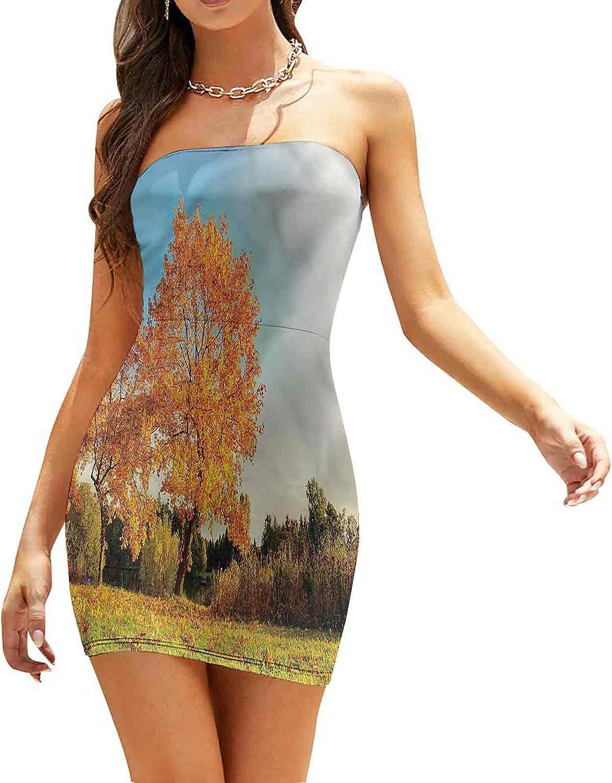 Women's Summer Strapless Dresses Fall Season Berries Foliage Dresses