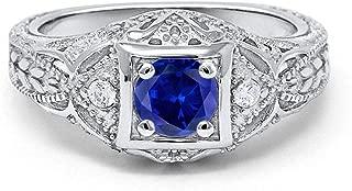 art deco blue sapphire ring