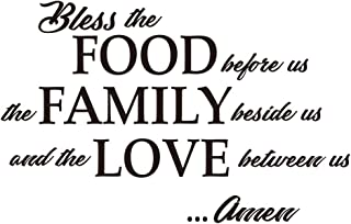 ZSSZ Bless The Food Before us, The Family Beside us, and The Love Between us Amen - Wall Decal Religious Quotes Prayer Dining Room Kitchen Home Décor Bible Verse Motto Words Art Letters