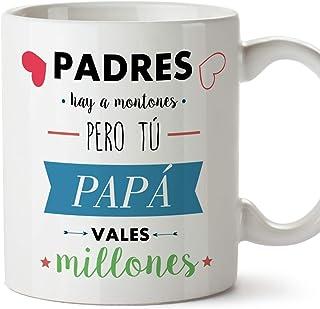 MUGFFINS Taza Papá - Padres hay a montones pero tú PAPÁ vales millones – Taza Desayuno con Frases/Mensajes. Idea Regalo Día del Padre. Cerámica 350 mL