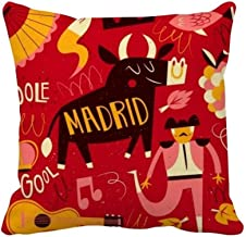 DIYthinker Madrid Spanish Bullfight Music Fiesta Square Throw Pillow Insert Cushion Cover Home Sofa Decor Gift 40 X 40Cm (...
