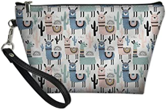 Tupalatus Women Ladies Travel Size Small Makeup Bag Cosmetic Pouch Zipper Single Layer Storage Bag Brushes Jewelry Accessories Collection Handbag Lightweight Multifunction Clutch Sheep Printed