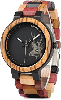 BOBO BIRD Mens Colorful Wooden Watches Classic Leisure Quartz Wristwatches with Cute Deer Pattern Unique Couple Watches fo...