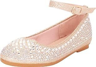 Cambridge Select Girls' Round Toe Ankle Strap Crystal Rhinestone Ballet Flat (Toddler/Little Kid/Big Kid)