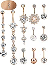 SEVENSTONE 10PCS Stainless Steel Belly Button Rings for Girls Women Navel Piercing Bars Body Jewelry