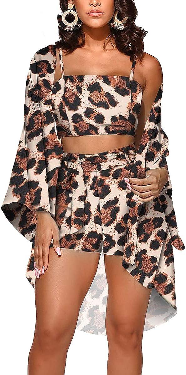 Womens Hawaiian Outfits 3 Piece Swimsuit Summer Beach Cover Ups Floral Kimono Cardigans Swimwear