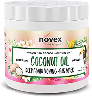 Embelleze Novex Coconut Oil Deep Conditioning Hair Mask, 7.4oz Deep Moisturizing Treatment Mask Using Nourishing Vitamin E & Brazilian Coconut Oil to Smooth, add Shine and Soften All Hair Types