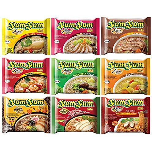 Yum Yum Nudeln | Thailändische | Instantnudeln | Mixkarton | Pack (60x60g) | 9 Geschmacksrichtungen (Huhn, Ente, Rind, Shrimp, Gemüse, Curry, Japanese Chicken, Sriracha Chicken, Grilled Chicken)