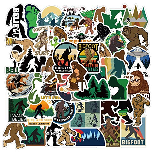 50Pcs Bigfoot Outdoor Nature Vinyls Stickers Laptop Sticker Waterproof Stickers Luggage Skateboard Water Bottle Stickers Decal Bicycle Bumper Snowboard Decorate Gift for Kid.(Bigfoot