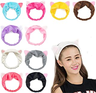 GuoZhiXin 10pcs Elastic Cat Ear Headbands, Headband for Women Wash Face Makeup Running Sport Spa Party, Lake Blue, Rose, Watermelon, Coffee, Grey, Pink, Yellow, Purple, Black, White, Large