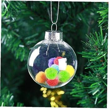 Byfri 5pcs de plástico incoloro Transparente Bolas de la Navidad DIY Bola Colgante de la chuchería Adornos de Navidad para el hogar de la decoración del árbol de Navidad: Amazon.es: Hogar