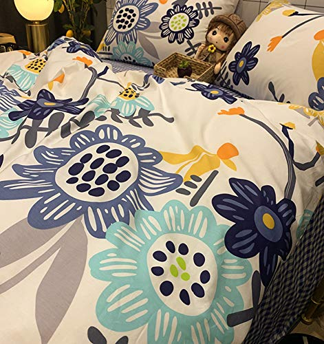 NKJSANFOI Small fresh 100% cotton pure cotton bed four-piece set ins style student dormitory bed sheet linen three-piece duvet cover