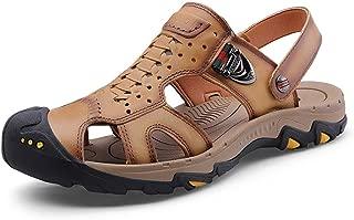 XIMINGJIA-O Men's Fashion Sandals Slippers Shoes PU Leather Toe Dual Metaldecor Crash Men's Leather Shoes, Traditional Classic Design sh