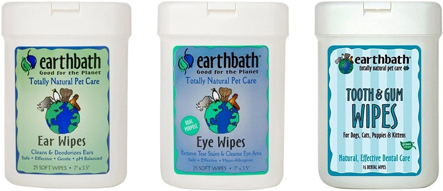Earthbath Dog Cat Grooming Care Bundle  (1) Each  Ear Wipes, Eye Wipes, Dental Tooth Gum Wipes, 25 Count