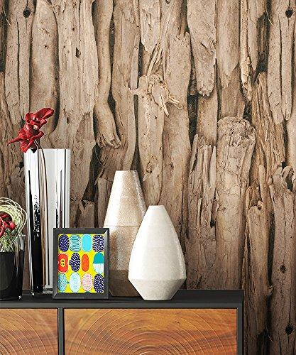 NEWROOM Holztapete Tapete Braun Holzbalken Holz Landhaus Vliestapete erdtöne Vlies Holztapete Holzwand Naturholz Holzpaneele Natur inkl. Tapezier Ratgeber