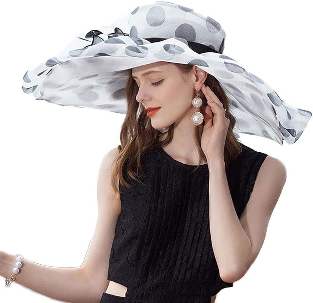 F FADVES 100% Organza Hats Kentucky Derby Large Wide Brim Flower Fedoras Polka Dot Wedding Hat