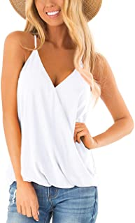 Womens Deep V Neck Wrap Spaghetti Strap Tank Tops Summer...