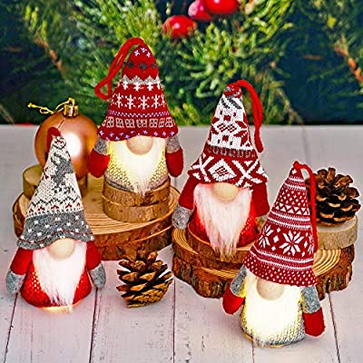 Christmas Gnome Hanging Ornaments with Lights, Handmade Swedish Tomte Plush Scandinavian Santa Elf Ornaments, Home Decorations for Shelf Table Fireplace Christmas Tree - Pack of 4