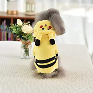 Home bathroom products Pet Clothes, Four feet, Autumn and Winter, Small Dog, Teddy, Panda, Puppy, cat, Winter Clothes, Dog Supplies, Yellow Pikachu Quadruped Coralline Velvet, XL (Within 10-14 kg)