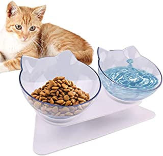 Double Cat Bowl with Raised Stand,15°Tilted Platform Cat Feeders Food and Water Bowls,Reduce Neck Pain for Cats and Small ...