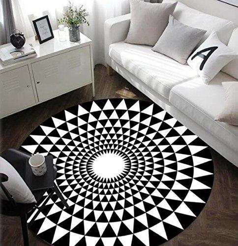 Mat-Maikajiaju Tapis Rond Noir et Blanc, Tapis Simple et Mode, adapté pour Chambre/Bureau/Salon, antidérapant (120cm, Black)