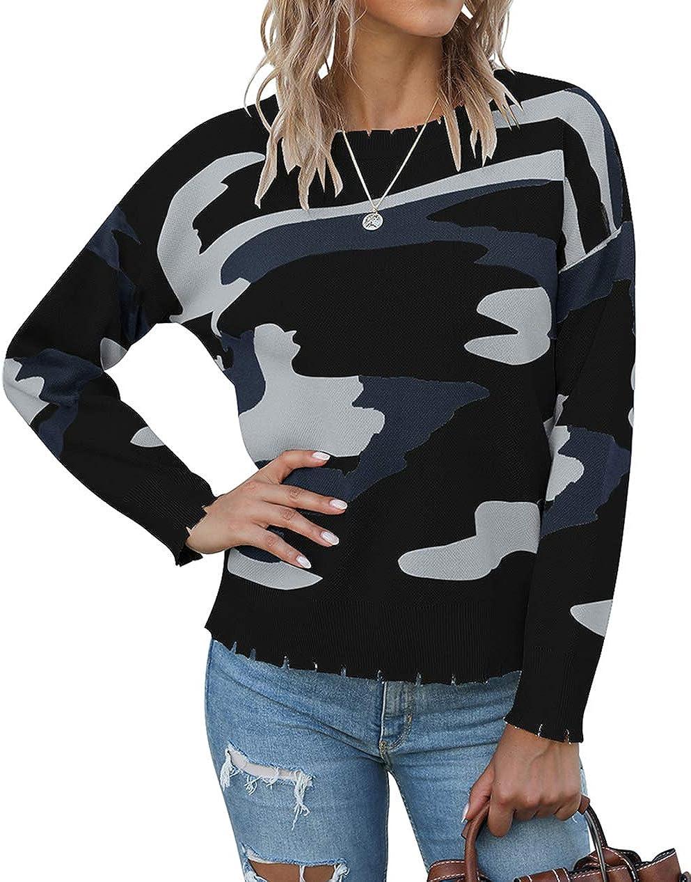 KIRUNDO 2021 Women's Japan Maker New Winter Knitted Camouflage Swea store Printed