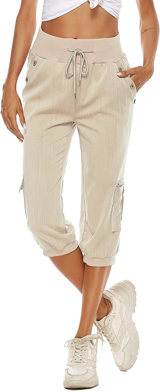Vertvie Women Capri Pants Cargo Cropped Trouser Summer Casual Cotton Linen Pants with Pockets