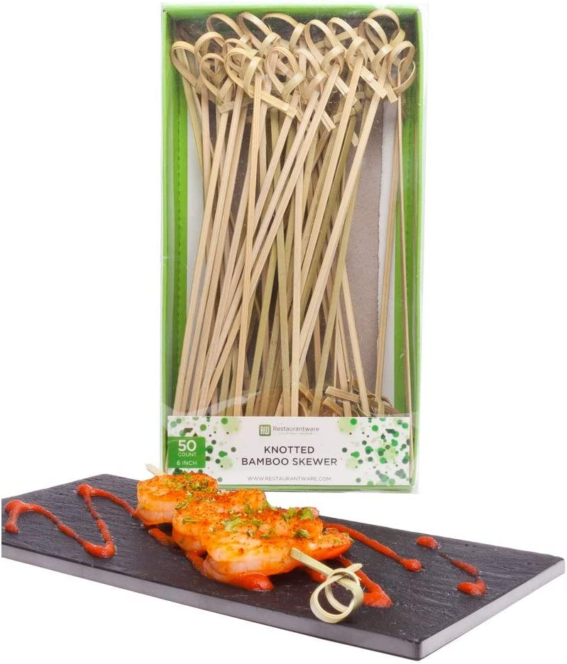 6 Inch Appetizer Picks, 50 Knotted Knot Skewer Picks - Looped Knot, For Food Or Drinks, Bamboo Cocktail Skewers, Twisted End, Looped End - Restaurantware