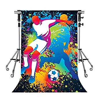 Colored Drawing Backdrop for Soccer Sports MEETSIOY Soccer Background Soccer Ball Photography Background for Boy Son Birthday Party Decorations 5x7ft NANMT1133