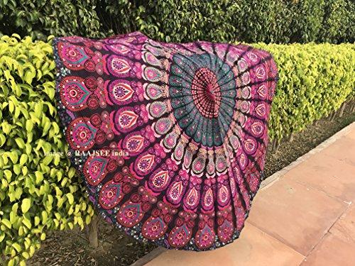 Raajsee Indien Strandtuch Rund Mandala Hippie Lila /Groß Indisch Rundes Baumwolle/ boho Runder Yoga Matte Tuch Meditation / Tischdecke Rund aufhänger Decke picknick handgefertigt Teppich 70 inch