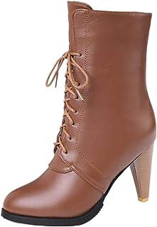 JOJONUNU Women Fashion Cone Heel Dress Boots