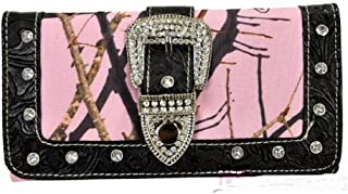Pink Mossy Oak Camo Western Buckle Wallet~Rhinestone Clutch Black Trim