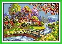 クロスステッチキット初心者郊外キャビン 11CT スタンプクロスステッチ事前印刷パターン刺繍 DIY 子供の大人の家の装飾 16 × 20 インチ