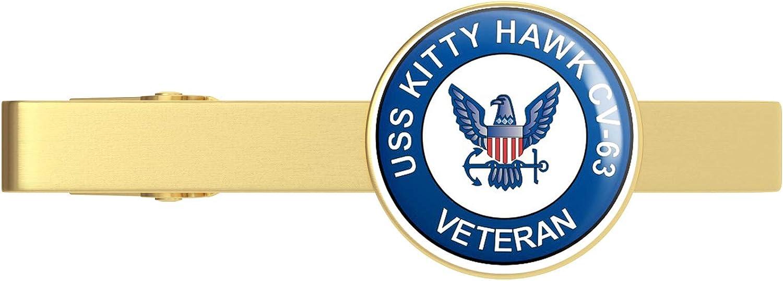 HOF Trading US Navy USS Kitty Hawk CV-63 Veteran Military Veteran Served Gold Tie Clip Tie Bar Veteran Gift