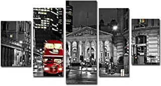 XIAOAGIAO 5 Canvas Wall Art Canvas Wall Art Pictures Frame Kitchen Restaurant Decor Red Bus City Night View Printed Poster Paintings Prints On Canvas