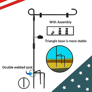 LINKJET Garden Flag Holder Stand Outdoor Garden Flag Pole Holder,Flag Stands for Small Garden Flags Metal Powder-Coated Weath