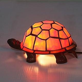 Lampe De Table Tortue À La Main Unique, Lampe De Nuit De Bureau En Vitrail De Style Tiffany Avec Base En Fonte Antique, Po...