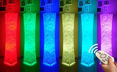 """Soft Light Floor Lamp, 52"""" LEONC RGB Color Changing LED Tyvek Fabric Shade Dimmable Remote Control & 2 Smart LED Bulb"""