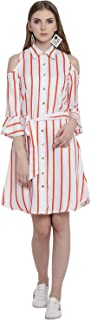 Lady Stark White and Orange Stripes Shirt Collar Crepe Dress for Women