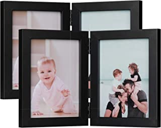 ONE WALL Tempered Glass 2PCs 5x7 Inch Double Picture Frame Black Dual Folding Photo Frame for Wall Hanging & Tabletop Display