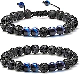 Lava Rock Bracelet - 8mm Stone Tiger Eye Bracelet Lava Rock Bracelet , Stress Relief Yoga Beads Adjustable Bracelet Anxiet...