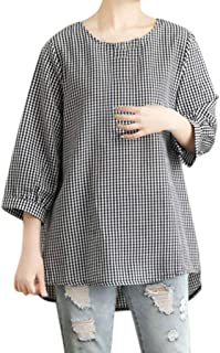 Shirts Blouse for Women 3/4 Sleeve Hosamtel Plaid Loose Summer Casual Cotton Linen Tunic Tops T-Shirt for Womens Clearance